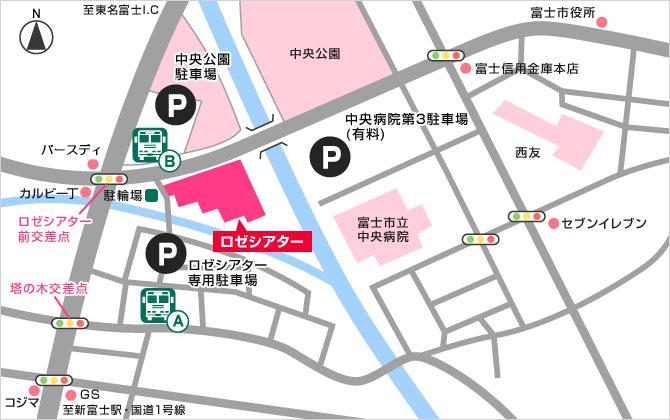 ロゼシアター周辺詳細地図(バス停位置確認)